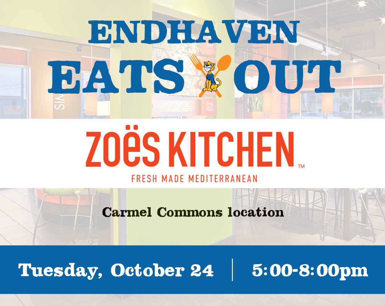 Endhaven Eats Out at Zoes Kitchen – October 24 – Endhaven Elementary PTA